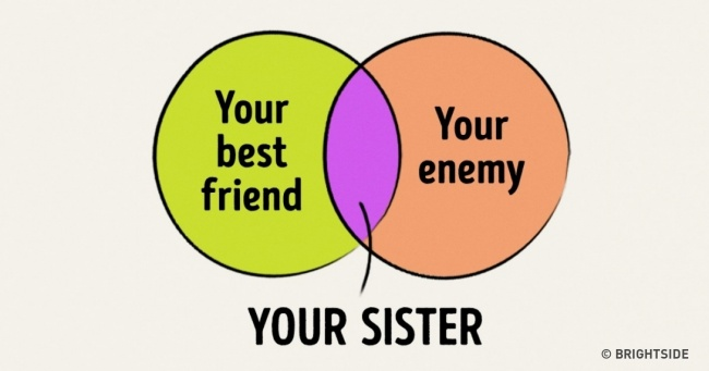 Ten diagrams that perfectly sum up life with an older sister